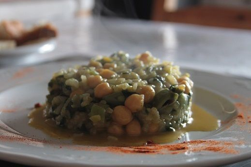 Garbanzos con arroz y verduras